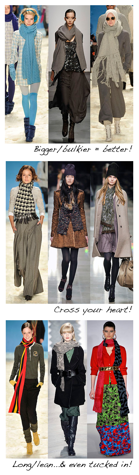 Scarves on the fall 2008 runway - how to wear it